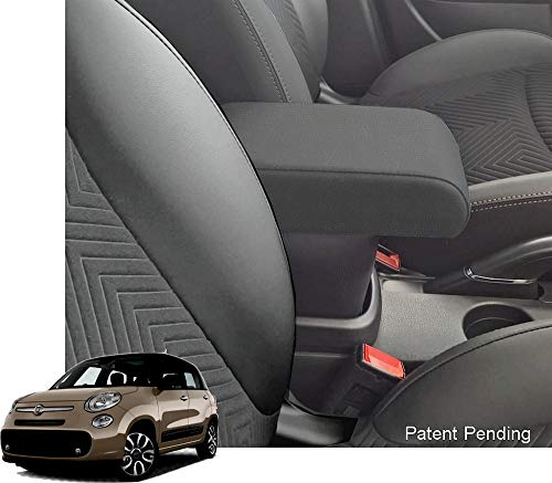 Bracciolo Premium per 500L dal 2017 in avanti in tessuto nero, montaggio ad incastro integrato invisibile con grande portaoggetti bracciolo compatibile 500 L