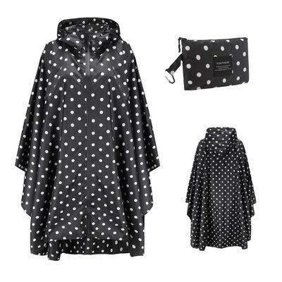 YH-NING Impermeable para mujer y hombre, mochila impermeable, ropa de lluvia al aire libre, senderismo, poncho, chaqueta, capa, talla única, puntos negros
