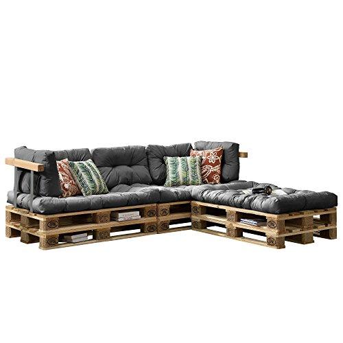 [en.casa] Euro Paletten-Sofa - DIY Möbel - Indoor Sofa mit Paletten-Kissen/Ideal für Wohnzimmer - Wintergarten (3 x Sitzauflage und 5 x Rückenkissen) Grau