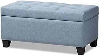 Baxton Studio Michaela Upholstered Storage Ottoman Bench in Light Blue