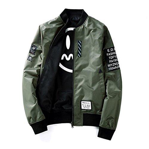 Jacke Herren Pilot dünne Pilot Bomber Jacke Windbreaker Jacke Zwei Seiten tragen GreatestPAK,Armeegrün,M