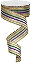 Wired Ribbon Mardi Gras Metallic Stripe in Purple, Gold and Green 2.5 Inches x 10 Yards for Wreaths, Floral Arrangements, Gift Wrapping, Crafting