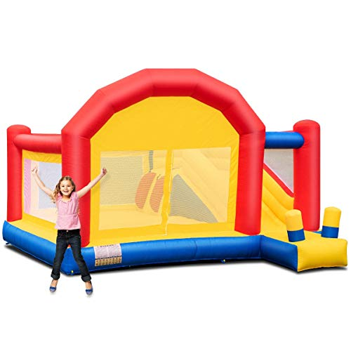 Inflatable Bounce House Slide Bouncer Castle Without Blower, Multicolored