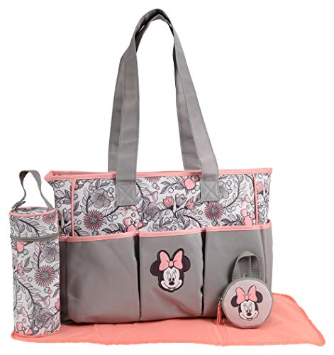 Disney Girls Minnie Mouse Multi Pc Large Diaper Bag Set, Floral Print, Grey