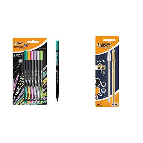 BIC Intensity - Pack de 6 rotuladores de punta fina, color Pastel + Celebrate Cristal Shine bolígrafos punta media (1,0 mm) - Cuerpo y Surtidos, Blíster de 2 unidades