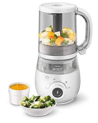 Philips Avent SCF883/01 - Robot de cocina 4en 1para papilla, cocina al vapor, Frulla, scongela y calienta de un recipiente