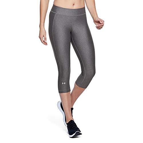 Under Armour UA Heatgear Leggings, Mujer, Gris (Charcoal Light Heather/Metallic Silver 019), XS