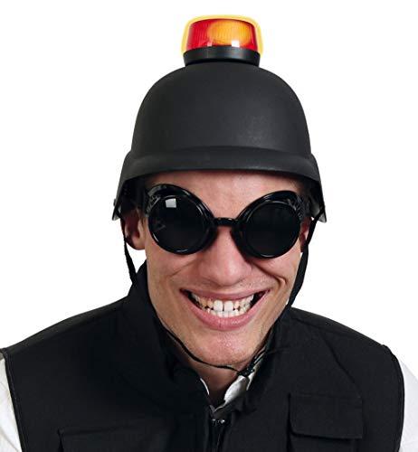 KarnevalsTeufel Set Bikerhelm und Blinklicht rot mit Ton Sirene Alarm Vorsicht Polizei Rettungskräfte Achtung Scherzartikel