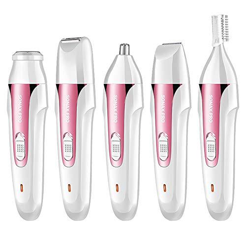 Afeitadora eléctrica depiladora facial removedor de pelo para la cara ceja bikini trimmer Lady sin dolor depilación para cara nariz labio superior barbilla 5 en 1 kit de groomer