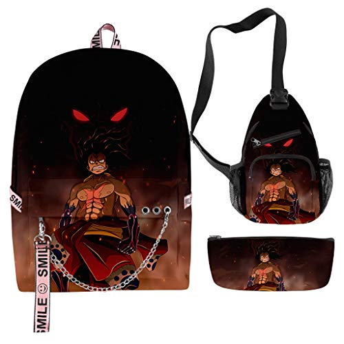 Manga One Piece Backpack Luffy Chopper Zoro Graphic School Book Bag with Crossbody Sling Bag & Pencil Pouch Bag Unisex (Q)