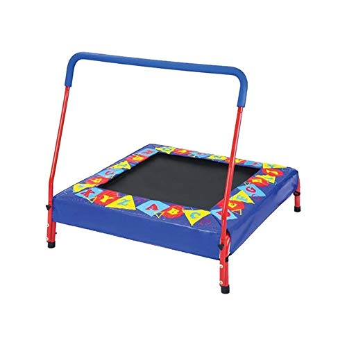 LKNJLL Toddler Trampoline With Handle - 45' Kids Trampoline With Handle - Mini Trampoline W/Sturdy Frame,Coil Spring,Safety Padded Cover -Heavy Duty Mini Trampoline Indoor Outdoor Toddler Trampoline