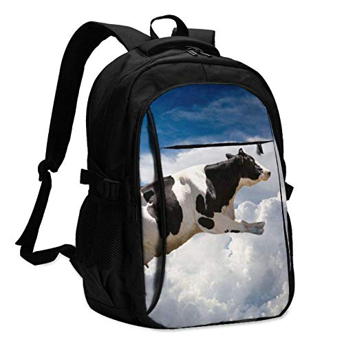 XCNGG Flying Over Clouds Super Cow Travel Laptop Backpack with USB Charging Port Multifunction Work School Bag