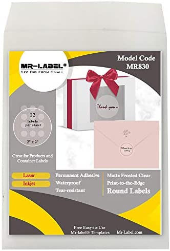 Mr Label 2 Matte Frosted Clear Round Labels Waterproof and Tear Resistant for Inkjet Laser Printer product image