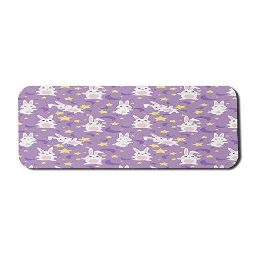 Computer-Mauspad der Kindheit, lustige Kaninchen mit Sternen und Mond Kawaii Hasen Baby Pastell Cartoon, Rechteck rutschfeste Gummi Mousepad große violette Senf weiß