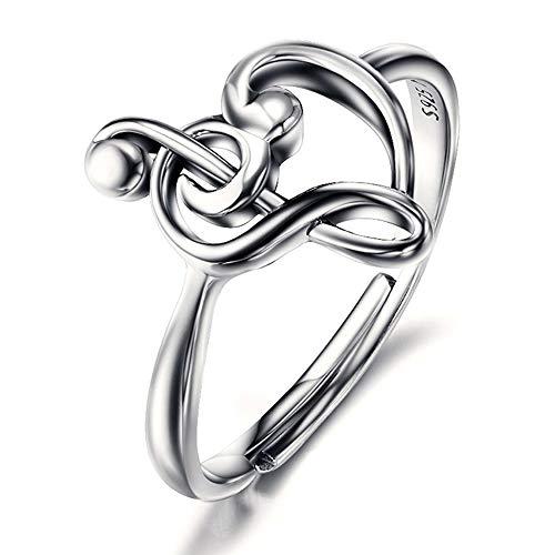 Anillo de plata de ley 925 con diseño de corazón y clave de sol para mujer,...