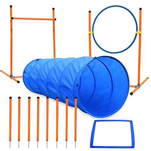 XiaZ Dog Agility Course Equipments, Obstacle Agility Training Starter Kit for Doggie, Pet Outdoor Games - Dog Tunnels, 8 Piece Weave Poles, Jumping Ring, High Jumps, Pause Box
