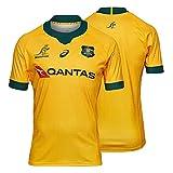 Camiseta De Rugby Local/Visitante De Australia 2021, Camisetas De Rugby De Siete De La Selección Nacional, Polos De Manga Corta para Hombre con Polos Bordados a La Yellow-XXL