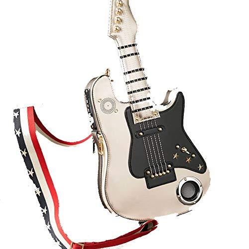 AAFLY Frauen Retro Umhängetasche Gitarre geformte Taschen Batterie USB-Schulter Messenger Bag Mädchen Luxus-Handtaschen mit Lautsprecher Musik-Player (E)