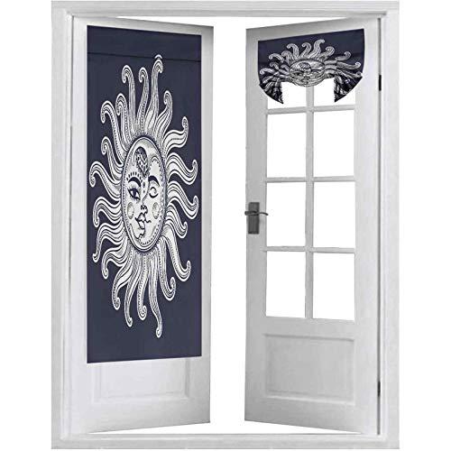 Cortinas opacas para puerta francesa, diseño de eclipse en el cielo a medianoche, estilo vintage, 1 panel de 66 x 172 cm, cortinas opacas para puerta de privacidad, azul oscuro y blanco