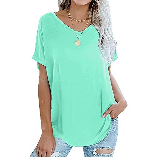 Camiseta Ajustada con Cuello en V para Mujer Camiseta Holgada con Mangas extragrandes Tallas de Camiseta Informal Camisa Corta Informal básica de Verano Color sólido versión Suelta Casual de Verano