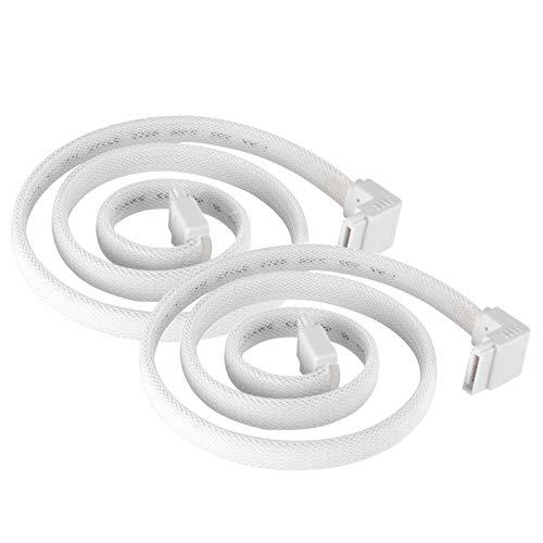 SilverStone Technology CP08W - Cable SATA de 90 grados, 3 unidades, color blanco con protección EMI para 6 Gb/s, 2 unidades