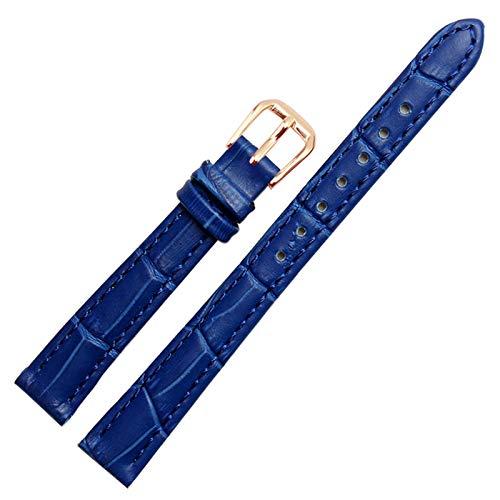 Reloj del Cuero de la Correa de Cuero Correa Mujer con Inoxidable Hebilla Royal Blue Gold, 14mm
