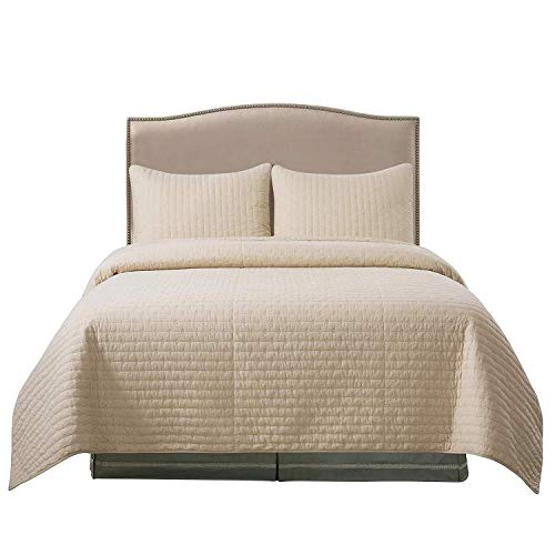 Soul & Lane Pure Bliss 100% Cotton Beige 3-Piece Quilt Set - King with 2 Shams   Modern Quilted Bedspread