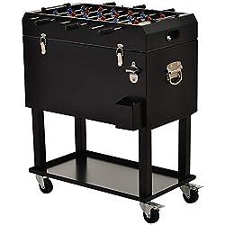 Outsunny Kühlbox mit Tischkicker, 2-in-1, 65 l Weinkühler, Tischfußball, Kühlwagen mit 4 Rollen, Metall Schwarz 71 x 59,5 x 85 cm