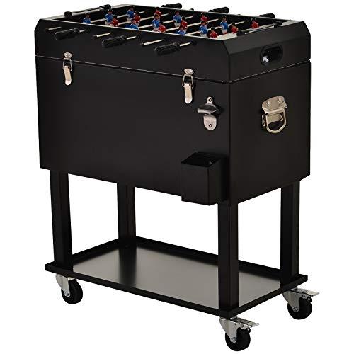 Outsunny Kühlbox mit Tischkicker, 2-in-1, 65L Weinkühler, Tischfußball, Kühlwagen mit 4 Rollen, Metall Schwarz 71 x 59,5 x 85 cm