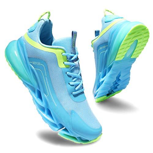 Deevike - Zapatillas deportivas para mujer, transpirables, cojín de aire, zapatillas deportivas, (2 azul y verde), 42 EU