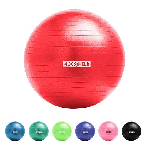 Sportheld® Profi Gymnastikball inkl. Fußpumpe zum Aufblasen | 55cm Durchmesser | Rot | robuster Sitzball & Fitnessball