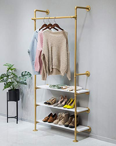 WGX Design For You Industrial Pipe Clothing Rack Wood Garment Rack Pipeline Vintage Rolling Rack On Wall(Gold)
