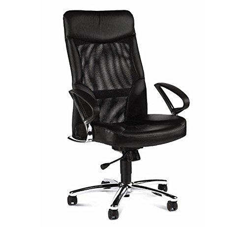 lifestyle4living Chefsessel in Echtleder schwarz mit Relax-Funktion inkl. Armlehen, Wippmechanik und atmungsaktiver Netzbespannung, Sitzbreite 50 cm