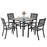 PHI VILLA 5-Piece Metal Patio Outdoor Dining Set- 37' Square Bistro Table and 4 Backyard Armrest...
