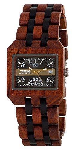 TENSE Wood Watch Mens Washington Uomo Legno di sandalo B5100SD