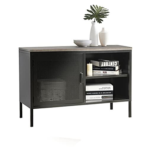 MEUBLE COSY Aparador Comedor Armario Dormitorio Buffet Moderno Muebles de Salon Cocina Oficina con 1 Puertas y 2 Estantes, Metal, Negro, 96x40x64.5cm