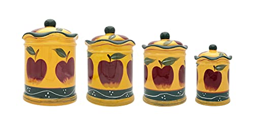 ACK Kitchen Decor Country Apple 4pc Canister Set 84101