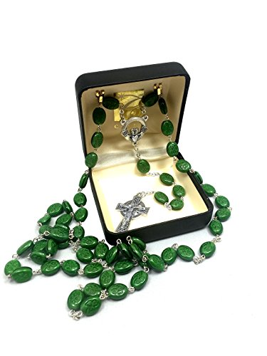 24' Irish Shamrock beads Green Rosary with Silver Tone Celtic Cross and Claddagh centerpiece