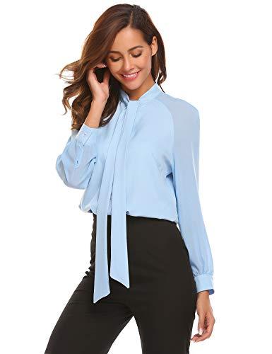 Parabler Damen Business Bluse Chiffon Elegant Langarm Schluppenshirt T-Shirt mit Schleife Patchwork Button-down-Shirts Oberteil Lose Langarmshirt Formal Tunika Hemd T-Shirt