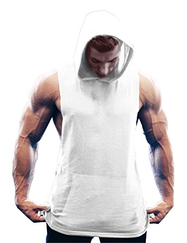 COOFANDY Men's Workout Hooded Tank Tops Bodybuilding Muscle Cut Off T Shirt Sleeveless Gym Hoodies White
