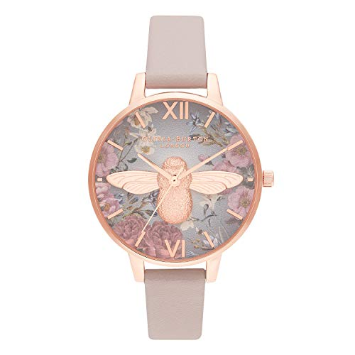 Olivia Burton Damen Analog Quarz Uhr mit Echtes Leder Armband OB16EG134