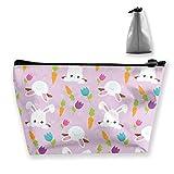 Bonitas bolsas de maquillaje para mujer con diseño de conejo y zanahoria, multifunción, bolsa de mano, bolsa portátil de viaje, capacidad de almacenamiento con cremallera (trapezoidal)