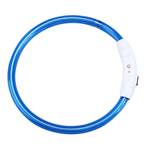 Pet Collar,IEason Hot Sale! Rechargeable USB Waterproof LED Flashing Light Band Safety Pet Dog Collar (Same Size, Blue)