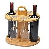 HOPUBO Estante De Vino De Madera - Juego De Almacenamiento De Vino De Bambú para 2 Botellas Y 4 Vasos - Soporte De Botella De Vino Ligero Y Portátil Y Estante De Secado para Colgador De Vidrio