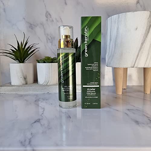 Green Keratin ELMW Acide Hyaluronique Sérum Visage - Soin Visage à l'Acide Hyaluronique (Faible Poids Moléculaire) BIO (100ml)