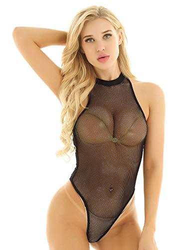 iiniim Body para Mujer Ropa Interior Sexy Transparente Conjunto de Lencería Erótica Teddy Bodysuit Malla Una Pieza Picardias Babydoll Club Fiesta Ropa de Dormir Negro Medium