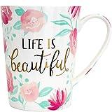Tropele Unique Ceramic Coffee Mug,16oz Inspirational Coffee Cups,Tea Cups Coffee Mugs Gifts, Unique Ceramic Coffee Mug For Women, Novelty mug, Beautiful flower,floral Mug,Fine Bone China Mugs