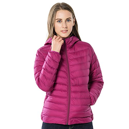 TAK Daunenjacke Damen Übergangsjacke Leicht Down Jacket Casual Steppjacke mit Kapuze, Rose rot, L