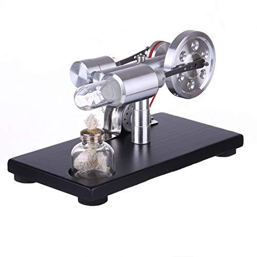 Ditzz Stirlingmotor Bausatz, Stirling Motor Generator Modell mit Voltage Digital Display Meter und LED-Licht, Lernspielzeug für Physik-Experimente