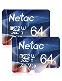 Netac Carte mémoire microSDXC, Lot de 2 64G Haute Vitesse UHS-I Carte Micro SD jusqu'à 100MB/S, A1, U3, C10, V30, 4K, 667X Carte TF pour Drone/Dash Cam/Camera/Phone/Nintendo-Switch/PC/Tablette